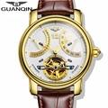 Marca de luxo turbilhão guanqin 2015 moda casual relógios homens de ouro relógios de pulso mecânico automático relógios 5 cores elegantes