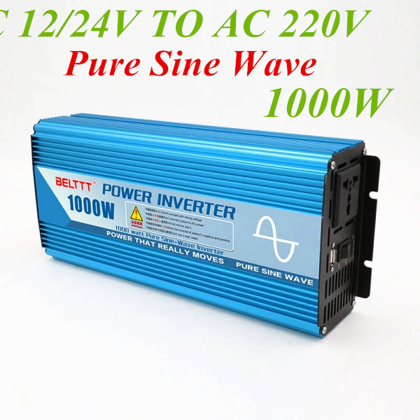 1000W Pure Sine Wave Inverter Peak Power 2000w 12V 24V 48V To AC 220V Battery Converter
