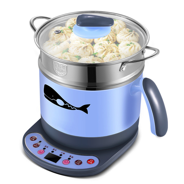 Household Dorm Room Electric Skillet Stainless Steel Steam Basket  Reservation Hotpot Stew Soup Noodle Mini Electric Part 97