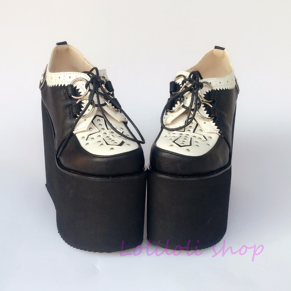Blanc Noir Design Princesse Douce Yoyo Custom Et Dentelle up Lolita Round Platform Chaussures Japonais An6674 Wedges toe Loliloli Multi wvfAv