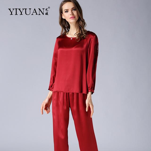 100% Pijama De Seda Natural Femenina Otoño de Lujo de Las Mujeres ropa de Dormir de Manga Larga de Cuello Redondo Establece Pijama de Seda de Dos Piezas T77132