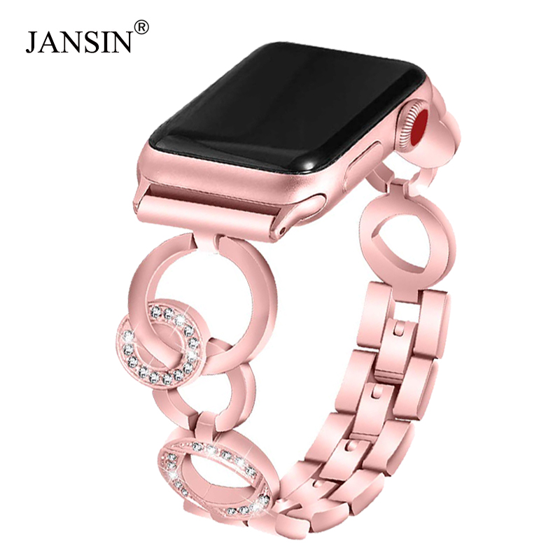 JANSIN Diamond Stainless Steel Replacement Strap For Apple Watch 40mm 44mm 38mm 42mm Band IWatch Series 5 4 3 2 1 Women Bracelet