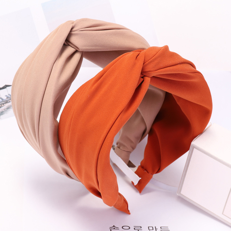 Haimeikang Solid Color Cloth Cross Hairband Headband Turban For Women Lady Wide Plastic Hair Hoop Bezel Hair Bands Accessories