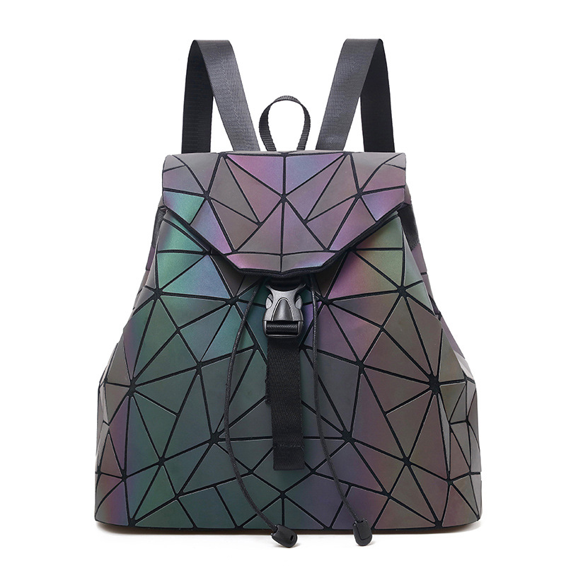 Women Laser Luminous Backpack Geometric Patchwork Diamond Lattice Drawstring Fold Backpack Teenage Girl Hologram School Bag 2018 kaisibo luminous backpack diamond lattice bag travel geometric women fashion bag teenage girl school noctilucent backpack