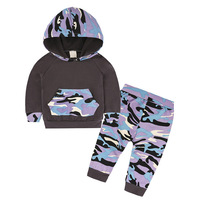 Baby Boys Girls New Years Clothes Sets Camo Hooded Pants 2Pcs Sets 2017 New Arrival Newborn Baby Stitching Tops Sets 0-24M CS39