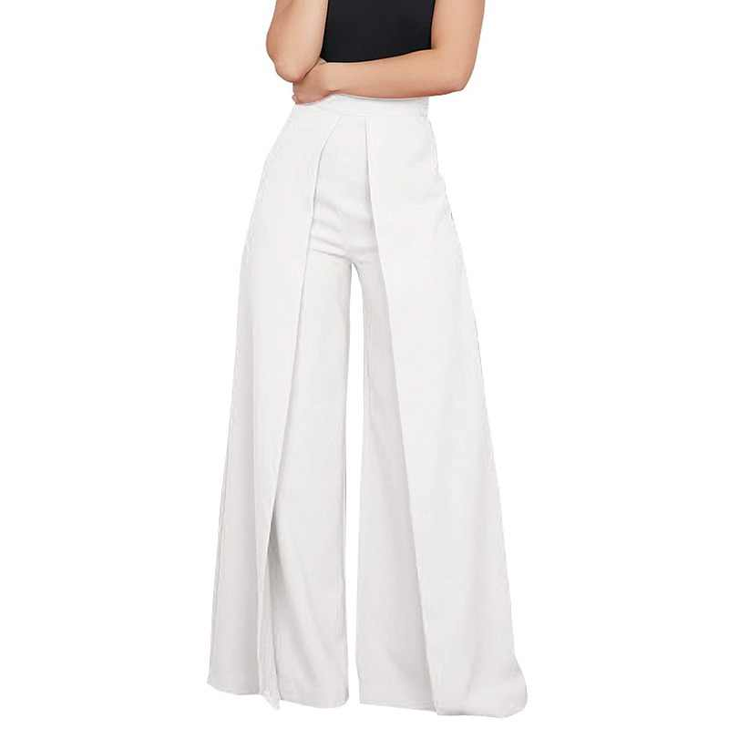 7c5a84376fc3 Glamaker White high waist wide leg pants capris Women casual pants bottoms  Summer pleated black elegant
