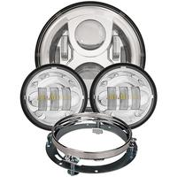 Harley Touring DOT 7 LED Projector Daymaker Headlights 4.5 Motorcycle Passing Lights With 7 Inch Headlamp Adapter Mount Ring