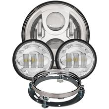 for Harley Touring DOT 7″ LED Projector moto Headlights 4.5″ Motorcycle Passing Lights With 7″ Inch Headlamp Adapter Mount Ring