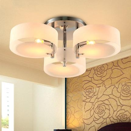 купить Lustres Brief Home Deco Living Room Circle Acrylic Ceiling Light Fixture Modern DIY Bedroom 3*E27 Bulb chrome iron Ceiling Lamp по цене 1443.59 рублей