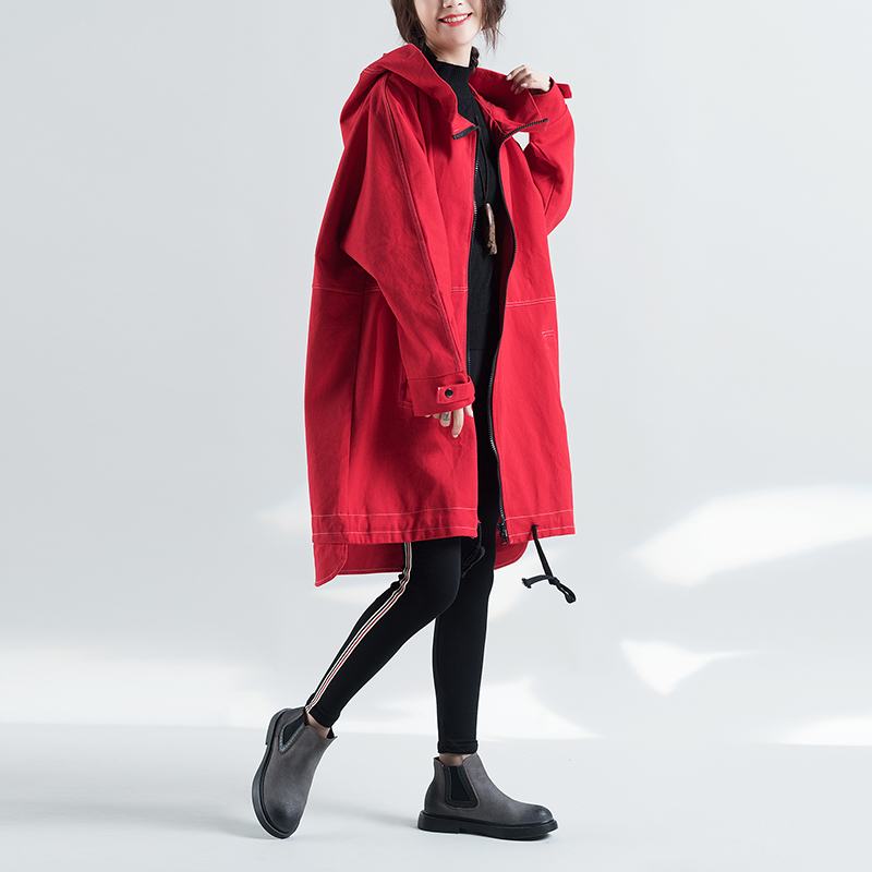 2017 High Quitly Trench Coat For Women Plus Size Women's Long Windbreaker Spring Autumn Female Loose Red Color Hooded Coat