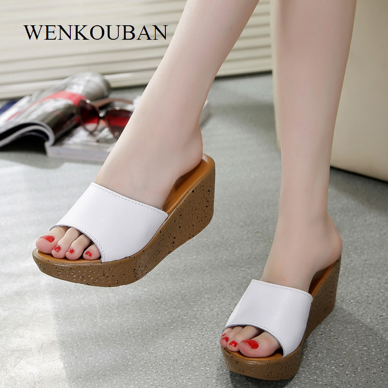 Fashion Women Wedges Sandals Summer Platform Slippers Thick Heel Beach Slides Ladies Casual Shoes Zapatos Mujer Plus Size 41 summer women platform sandals wedges slippers rainbow thick heel sandals ladies shoes women summer shoes beach