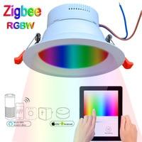 חכם Zigbee גשר 9 w RGBW LED Downlight לעבוד עם גדול zigbee גשר/gateway-בתאורת תקרה מתוך פנסים ותאורה באתר
