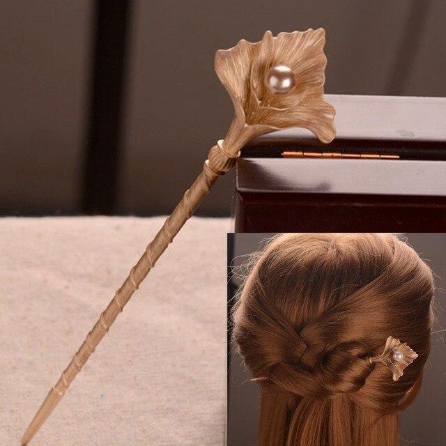 1 шт. Винтаж цветущих ручка волос сплава Ретро золото невесты жемчужина волосы застежка Для женщин Мода Украшения для волос канзаши шаг пожать