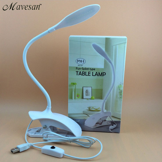 Hot Sale 3w LED Desk Lamp Table Reading Lamp Flexional Stand Clip Desk Lamp Luminaria Fashion Novelty Gift for Student White