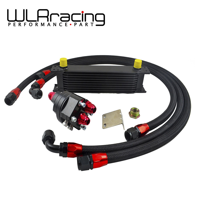 где купить WLR - BLACK UNIVERSAL 10 ROWS ENGINE OIL COOLER+ALUMINUM OIL FILTER/COOLER RELOCATION KIT+3X NYLON BRAIDED HOSE LINE+ADAPTER дешево