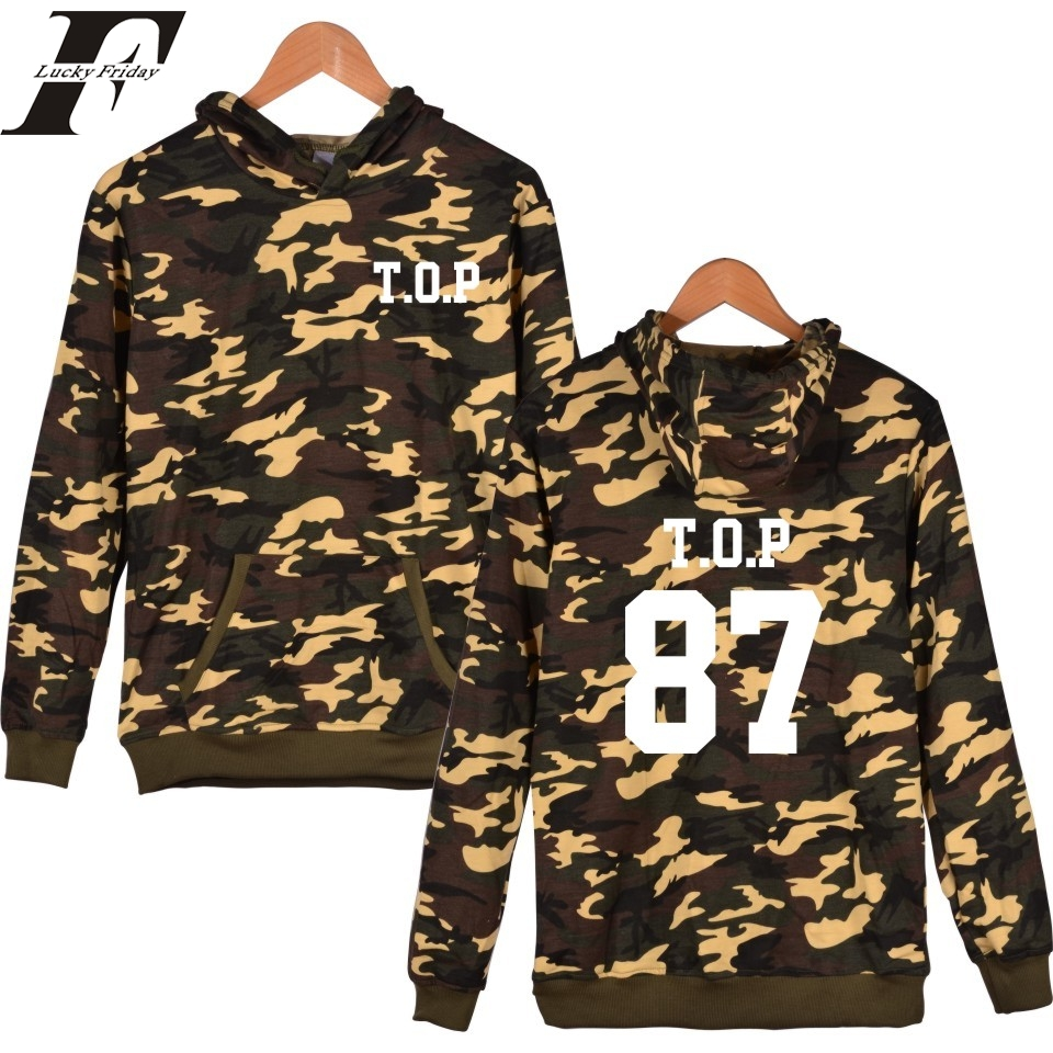 2017 Bigbang Camouflage Hooded tumblr Sweatshirt men Women Korean bts Kpop GD D-dragon tracksuit Hoodies survetement femme - B&W Fashion Online store