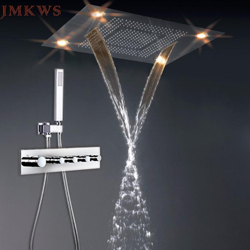 304 нержавеющая сталь осадков набор для душа светодиодный смесители ванной комнаты термостатический смеситель с лампой 600*800 мм душ 3 функции