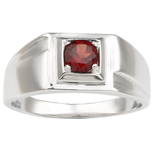 Real Red Garnet Ring Men Silver 925 Solitary 5.5mm Gemstone January Birthstone Crystal Jewelry R500RGN