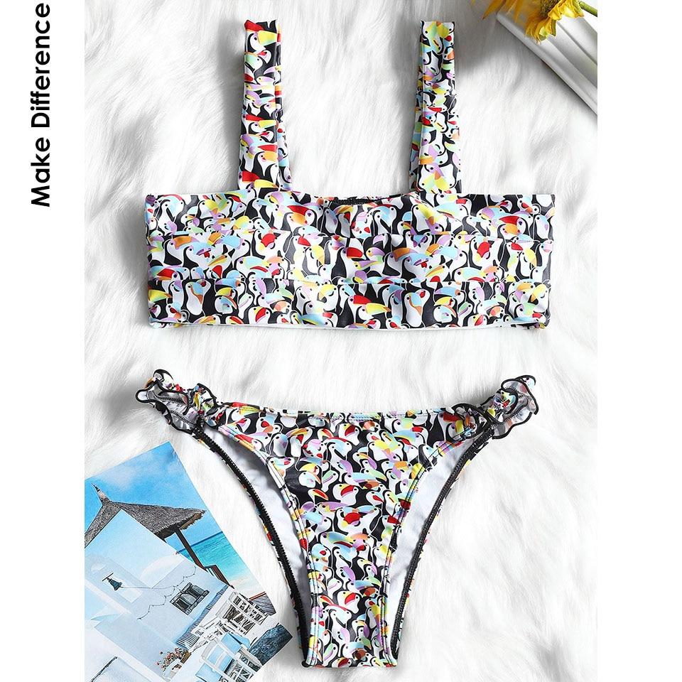 Сделать разницу бренд лайкра Фламинго бандо Бикини Раффлед бразильский  стринги купальники 2018 черный Двойка купальники для женщин b1fd0d2568f