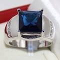 Handmade Stainless Steel HUGE Band Wide 23mm Oblong Created Sapphire Blue Stone Ring for Men Women