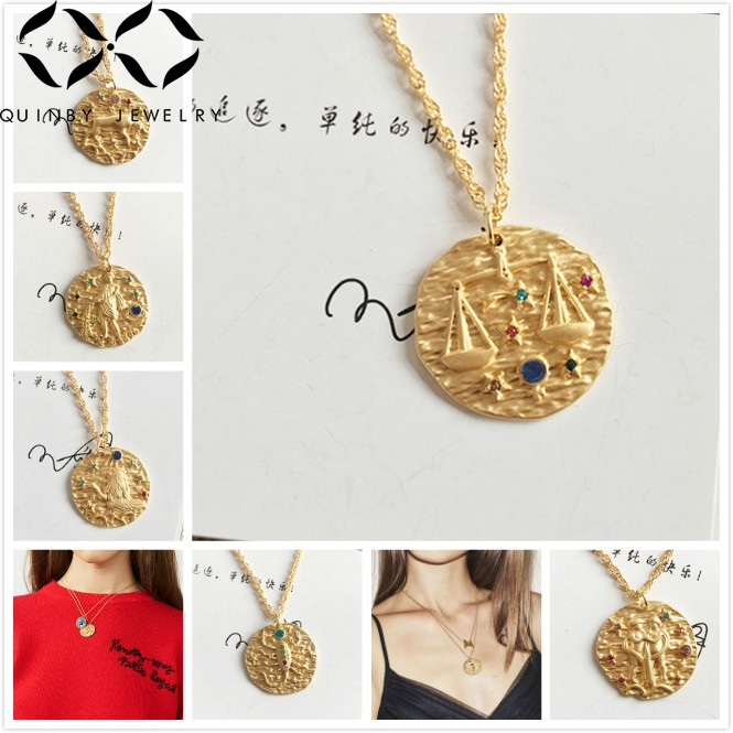 Quinby Dainty Zodiac Coin Gold Chain Necklace Women 12 constellation pendant necklace horoscope statement collar girl jewelry Q5 in Pendant Necklaces from Jewelry Accessories