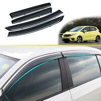 4pcs ABS Car Smoke Window Sun Rain Visor Deflector Guard For Honda Fit Jazz Hatchback 2014 2015 2016 2017 2018 Accessories