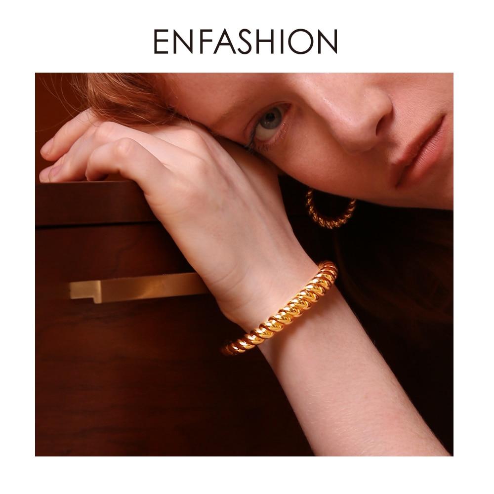 Enfashion Pure Form Twist Cuff Bracelet Gold Color Brass Bangles For Women Accessories Bracelets Jewelry Joyeria BF182031