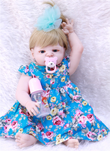Bebe reborn 22inch 55cm silicone baby girl dolls blond hair blue eyes charming safe and non-toxic toy
