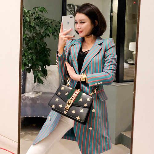 Yeni 2020 yaz kruvaze elbise moda kadın Hit renk çizgili Bodycon çalışma ceket resmi çentikli yaka OL takım elbise ceket