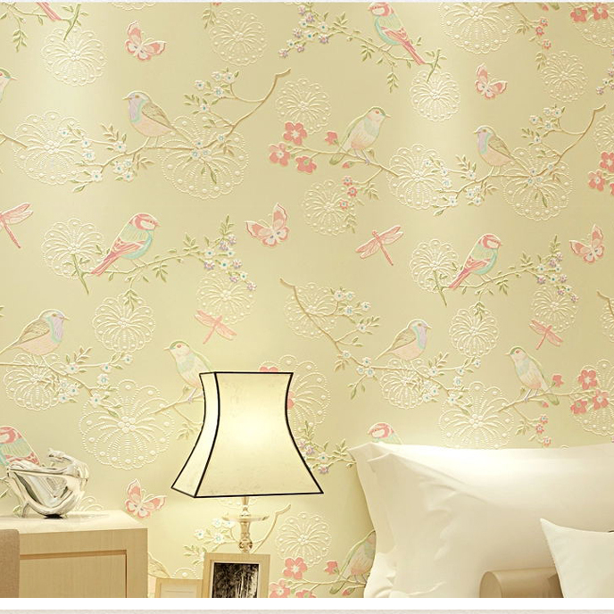 3d Modern Wallpapers Home Decor Flower Wall Paper 3d Non Woven Bird Wallpaper Decorative Bedroom Wallpaper Floral Paper Roll In Wallpapers From Home