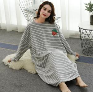 Image 2 - Fdfklak كبير الحجم المرأة فستان سهرة كم طويل قميص النوم القطن مزيج الملابس المنزلية ربيع الخريف قمصان النوم ثوب النوم فضفاضة