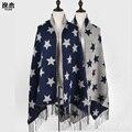 Luxury Brand женщины кашемир Шарф двухсторонняя пятиконечная звезда шаблон Платки и Шарфы леди зима мыс echarpe YL-70057