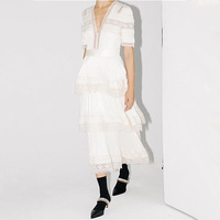 Women Summer Fashion Luxury Designer Runway Style Sexy V neck Lace Patchwork Layers Maxi Long Dress Plus Size
