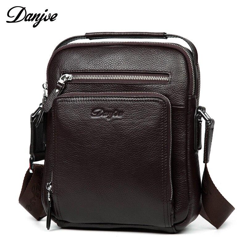 DANJUE Genuine Leather Men's Messenger Bags Cow Skin Shoulder Bag designer Crossbody bag high quality real leather bag for Ipad