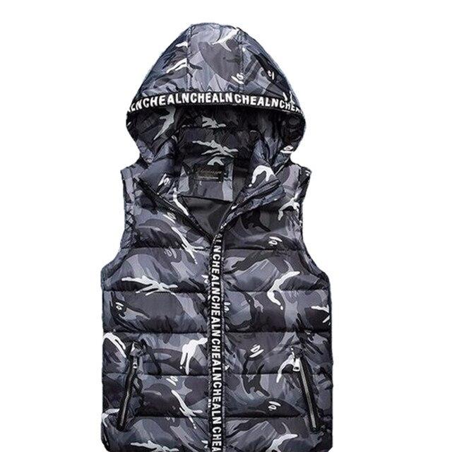Aliexpress горячей продажи дешевые оптовые 2016 осень зима новый мужчины мода повседневная прохладный теплый камуфляж жилет