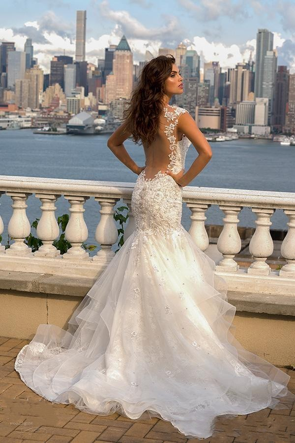 7622b5070601e Sexy Illsuion Back Eve of Milady Lace Mermaid Wedding Dresses Sexy ...