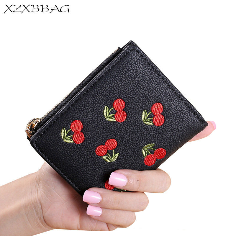 XZXBBAG Cute Cherry Small Wallets 2017 New Design Female Embroidery Coin Purse Girl Student Short Zipper Hasp Money Bag Clutch 100 super cute little embroidery chinese embroidery handmade art design book