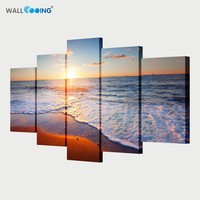 5 Piece Canvas Art Monopoly Canvas Painting Modular Pictures Sunset Seascape Paintings Setting Spray Image Vance