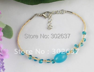 12PCS SkyBlue glass beaded Lucky Raffia Anklet Bracelets #21630