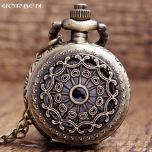 Bronze quartz pocket watch vintage hollow pendant sculpture mens watches hot selling mini small size light watches with chain