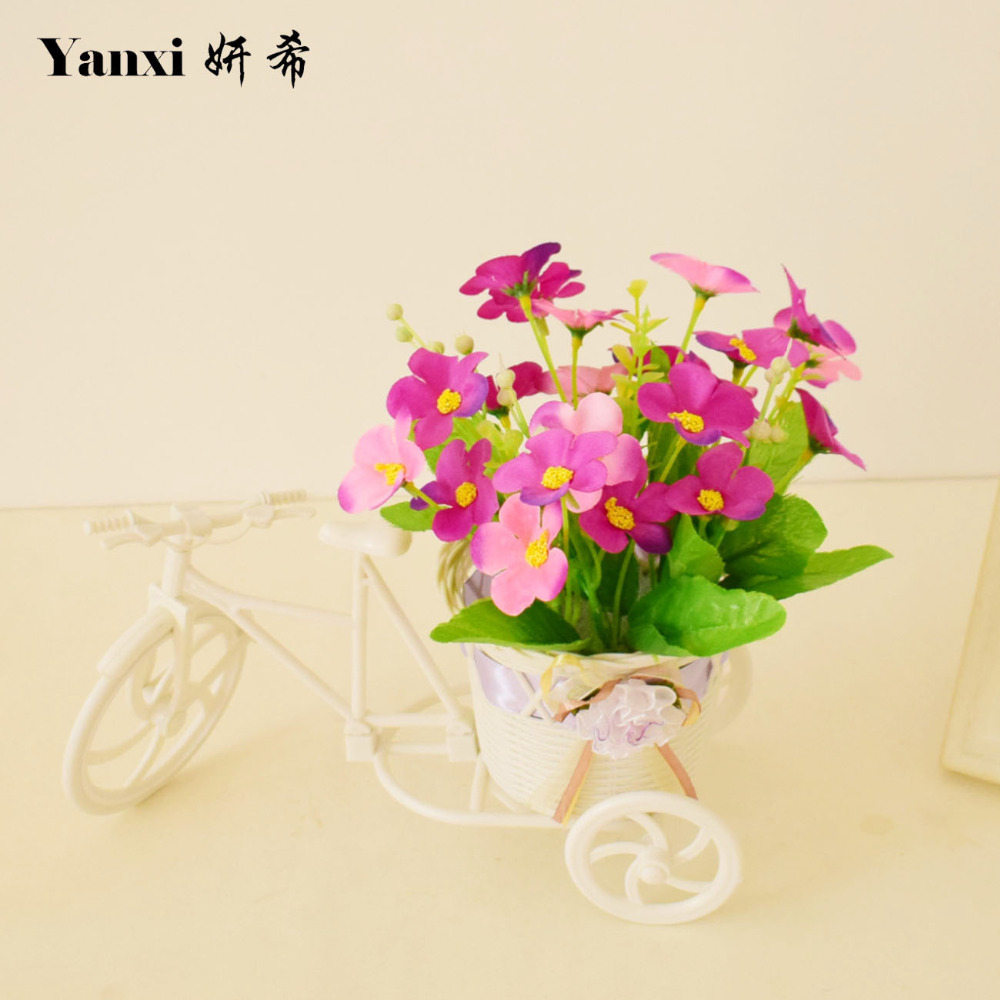 Small white bicycle vase with silk artificial flowers for homes small white bicycle vase with silk artificial flowers for homes tabletop party weddings living room decorations flowerpot set in artificial dried flowers floridaeventfo Images