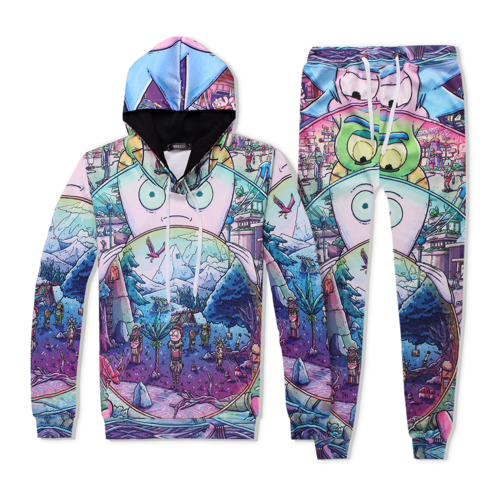 Rick & Morty Play in the snow sweats tracksuit men women winter casual clother 3d hoody&pants 2 pieces size S-XXL