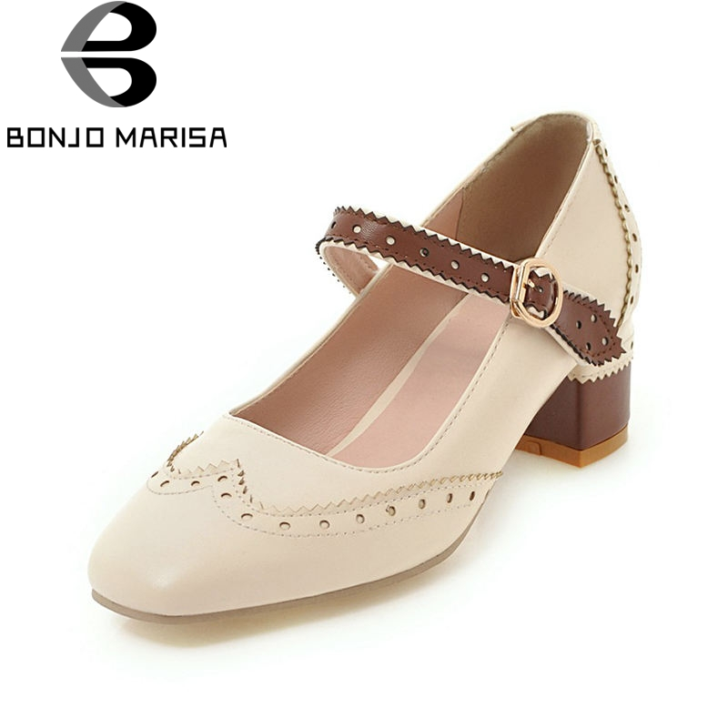 BONJOMARISA 2018 Spring Autumn New Arrival Big Size 34-43 Mixed Color Women Mary Janes Pumps Flower Edge Med Heels Shoes Woman loslandifen mary janes women pumps new