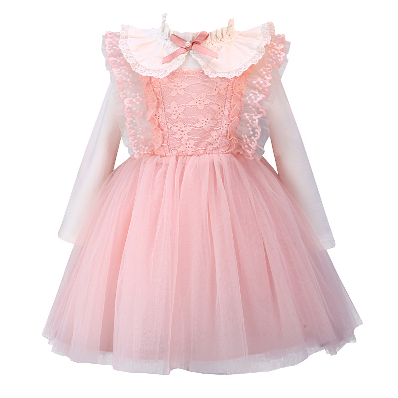 2019 pink long sleeve lace baby   dress   birthday party wedding baby   flower     girl     dress