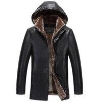 2018 г. новые зимние меховые пальто мужские бизнес отдых кожаная куртка толстые мужчины меховая одежда овчины с капюшоном куртки съемный
