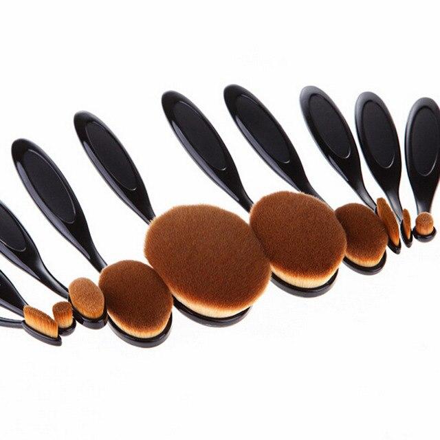 10 Unids Belleza cepillo de Dientes En Forma de Base de Maquillaje Crema Ovalada Puff Cepillos Venta Caliente