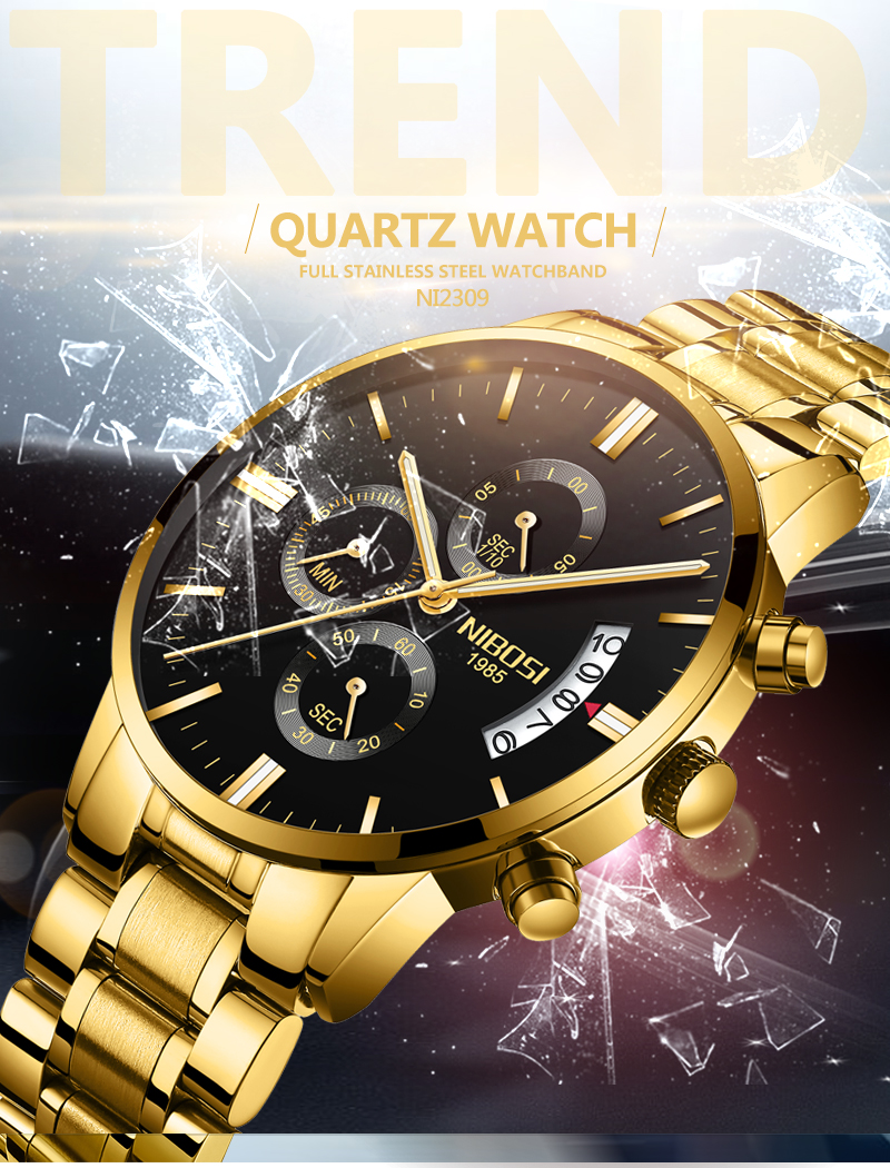 2018 NIBOSI Gold Quartz Watch Top Brand Luxury Men Watches Fashion Man Wristwatches Stainless Steel Relogio Masculino Saatler    (8)