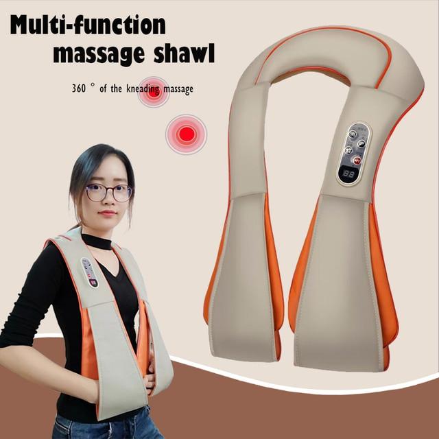 U Shape Electrical Shiatsu Back Neck Shoulder Body Massager Infrared Heated Kneading Home Massager Multifunctional Shawl
