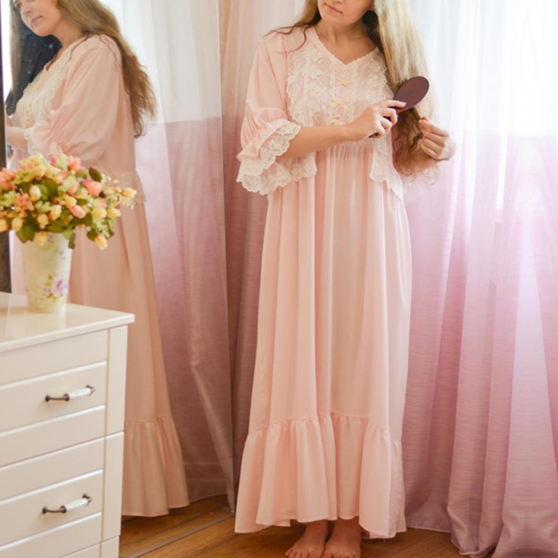 Loose Nightgown Women Long Nightdress Sleepwear Ladies Princess Sleepwear Ankle Length Nightwear Dress