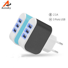 New EU Plug Universal 3 Slots USB Charger Adapter Wall Travel Power Charger Adapter for  HTC SAMSUNG Iphone with Light  -39 3 7v 1500mah battery with battery charger eu plug power adapter set for htc desire z